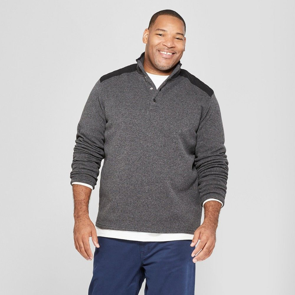 b923640932 Men s Big   Tall Sweater Fleece Quarter Snap - Goodfellow   Co Charcoal ( Grey) 5XB