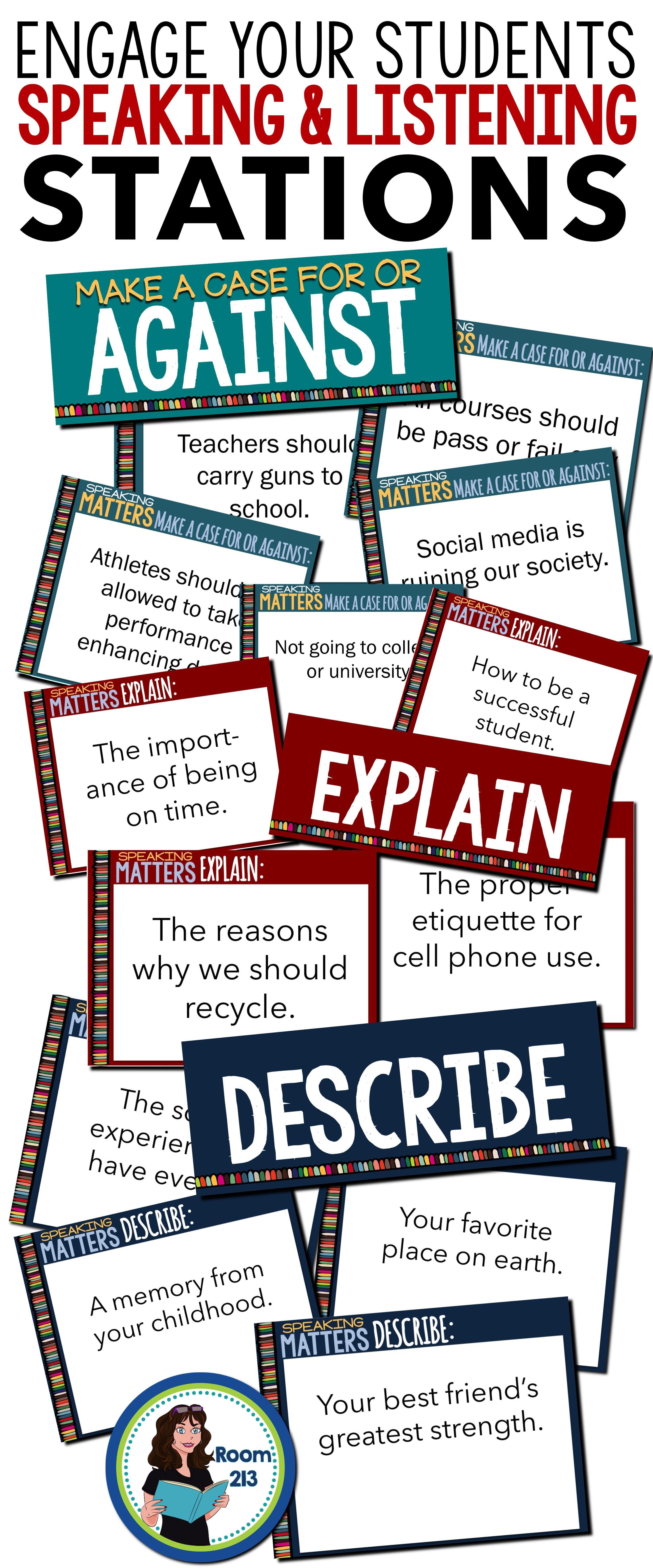 Speaking Amp Listening Activities Task Cards