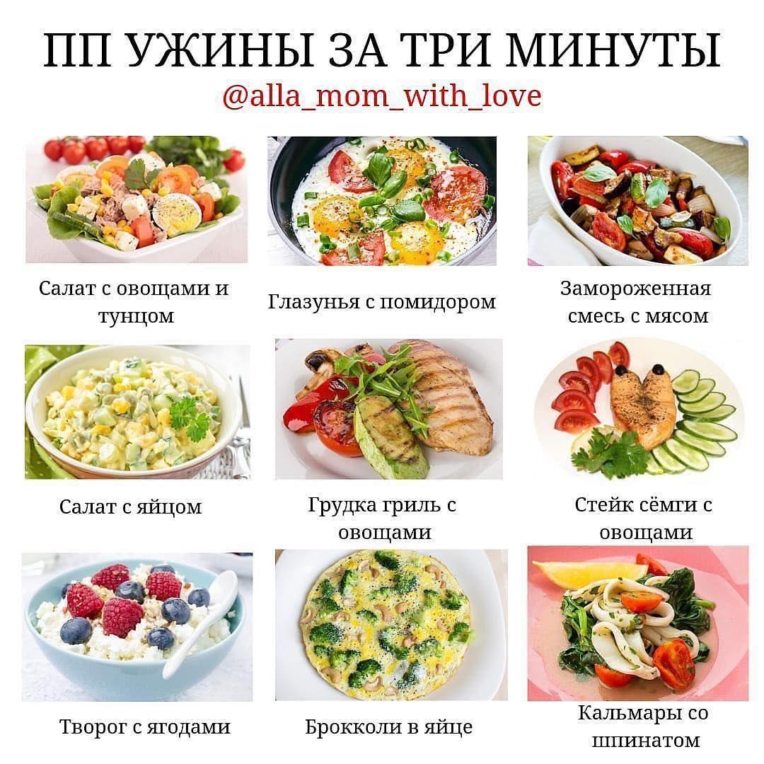 Меню правильного ужина для похудения