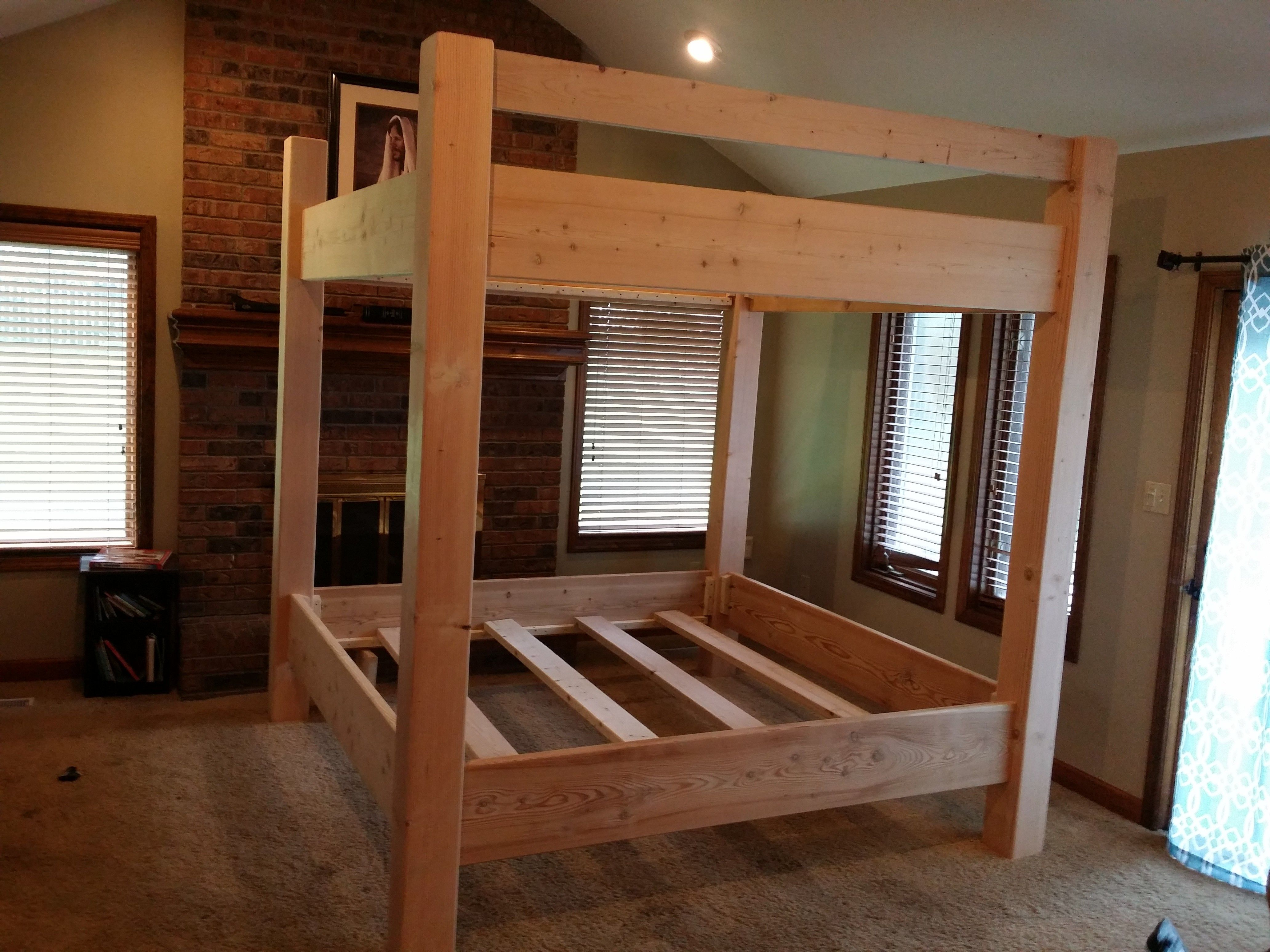 King size loft bed with stairs  Custom Bunk Bed King Over King Unstained  Home  Pinterest  Bunk