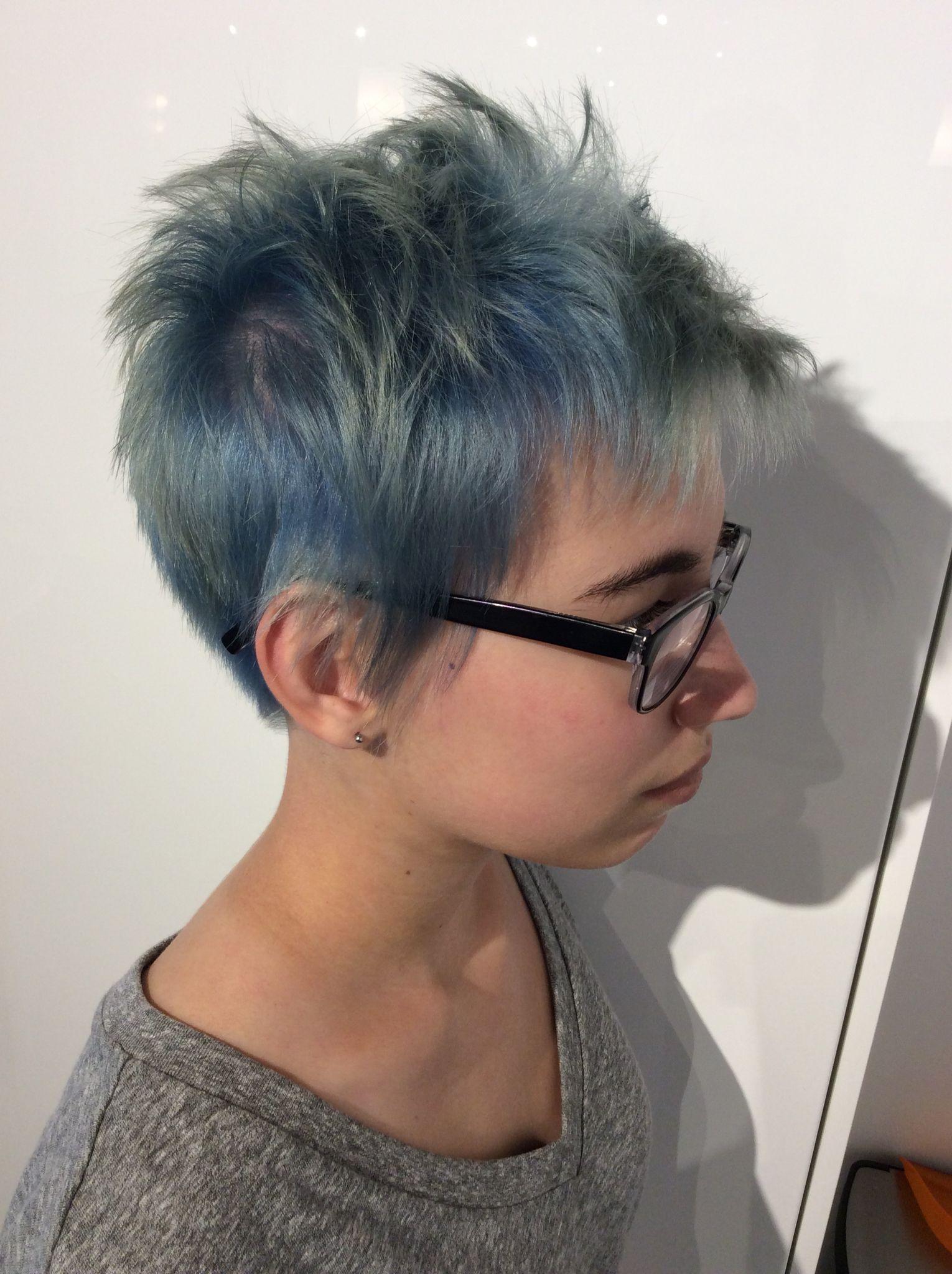 short blue textured pixie short womens haircuts
