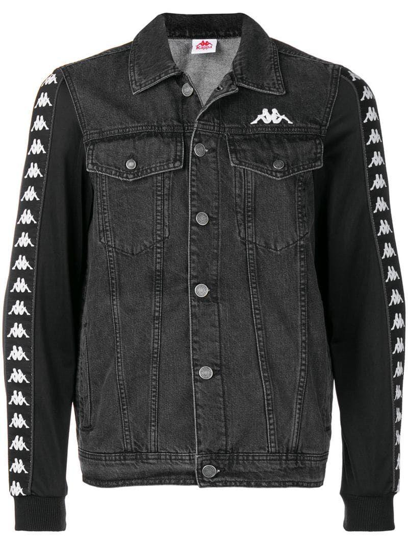Kappa Logo Sleeve Denim Jacket Farfetch Denim Jacket Jackets Pants For Women [ 1067 x 800 Pixel ]