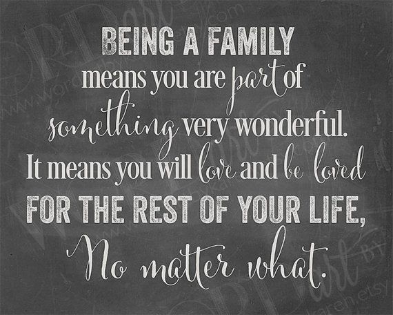 Chalkboard downloadable print: Being a family means you are part of something very wonderful.  It means you will love and be loved for the rest of your life, No matter what.
