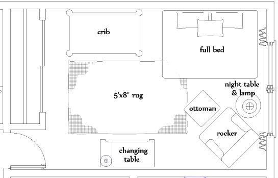 Being the indecisive person I'm I had a hard time deciding the floor layout for the nursery. I tried many options, with the crib caddy corner, the full bed centered by the window, the crib centered...