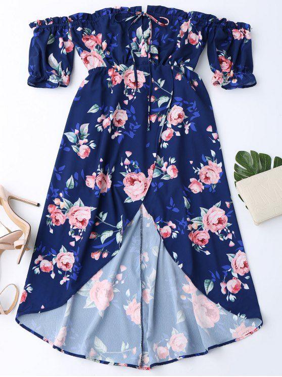 Off Shoulder High Low Floral Dress - PURPLISH BLUE XL