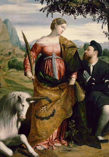 Moretto da Brescia, St. Justina, Venerated by a Patron (1530 - 1534) on ArtStack #moretto-da-brescia #art