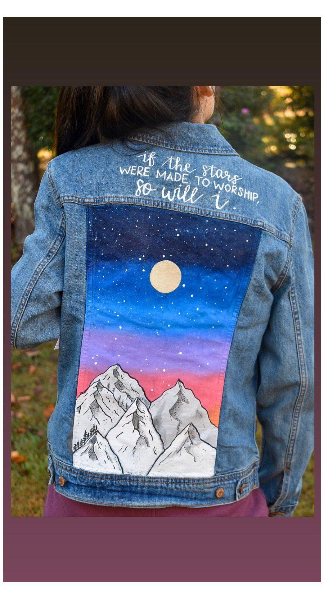 Hand Painted Denim Jacket With Landscape Painted Jean Jacket Ideas Handpainted Denim Jacket Availa Painted Denim Painted Clothes Diy Denim Jacket Diy Paint [ 1928 x 1044 Pixel ]