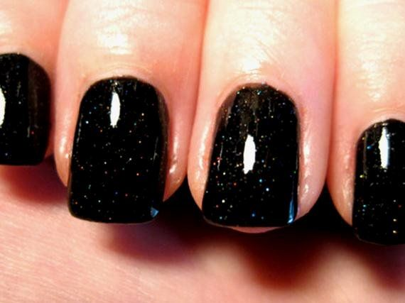 Black Glitter Nail Polish New Items Similar to Black Glitter Nail Polish On Etsy