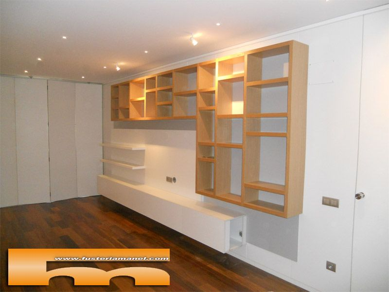 decoracion saln mueble tv de diseo a medida de gran tamao suspendido con panel pared en el papiol proyecto realizado por pinterest