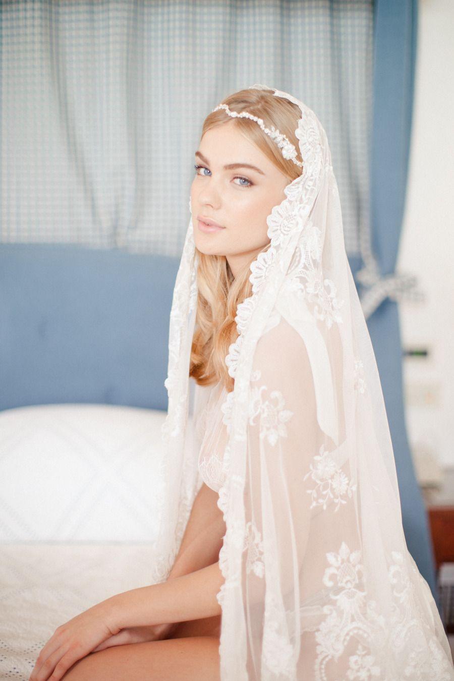 Boudoir Photography: Sandra Åberg - european wedding photographer - blue eyed girl - jannie baltzer veil.    Read More: http://www.stylemepretty.com/destination-weddings/2014/12/15/amalfi-coast-wedding-inspiration/