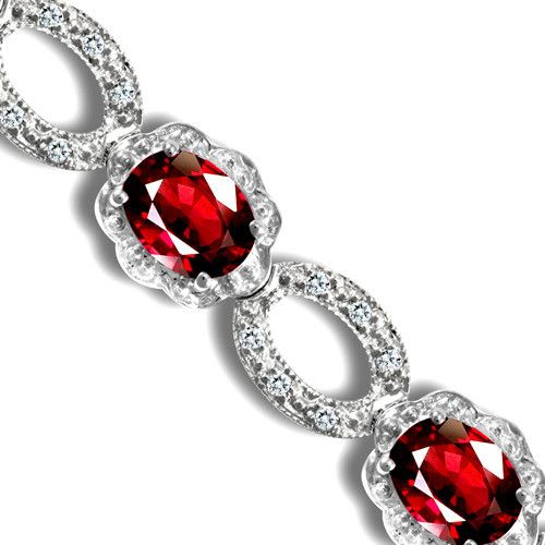 18ct White Gold Diamond and Ruby Bracelet 18B028