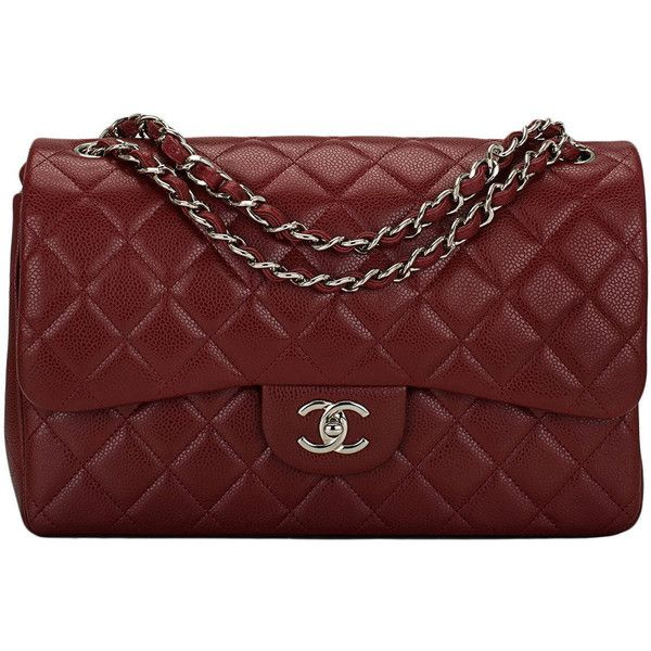 325d1f902f2 Red Handbag · Pre-owned Chanel Maroon Red Quilted Caviar Jumbo Classic  Double Flap... (