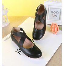 Mujeres libres del envío planos del Ballet de cuero redondo zapatos de la bailarina para confort Casual otoño para mujer zapatos mocasines(China (Mainland))