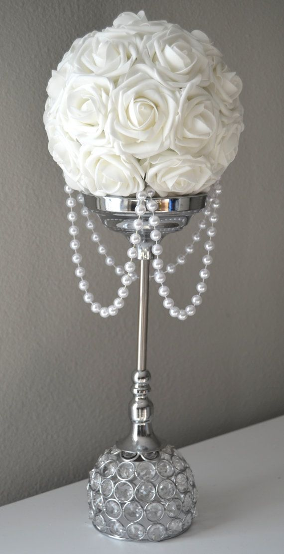 White flower ball with draping pearls wedding decor