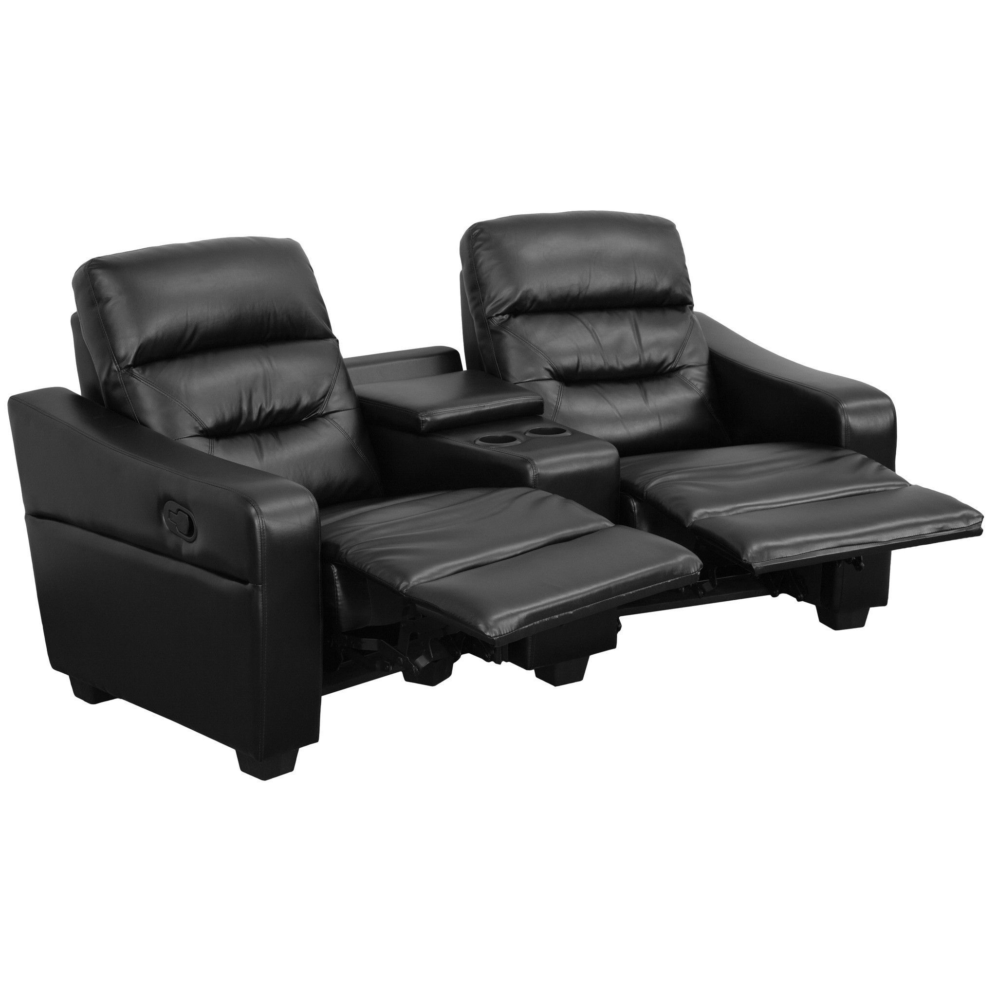 Flash Furniture Futura Series 2-Seat Reclining Black Leather Theater Seating Unit with Cup Holders  sc 1 st  Pinterest : 2 seater theatre recliner - islam-shia.org