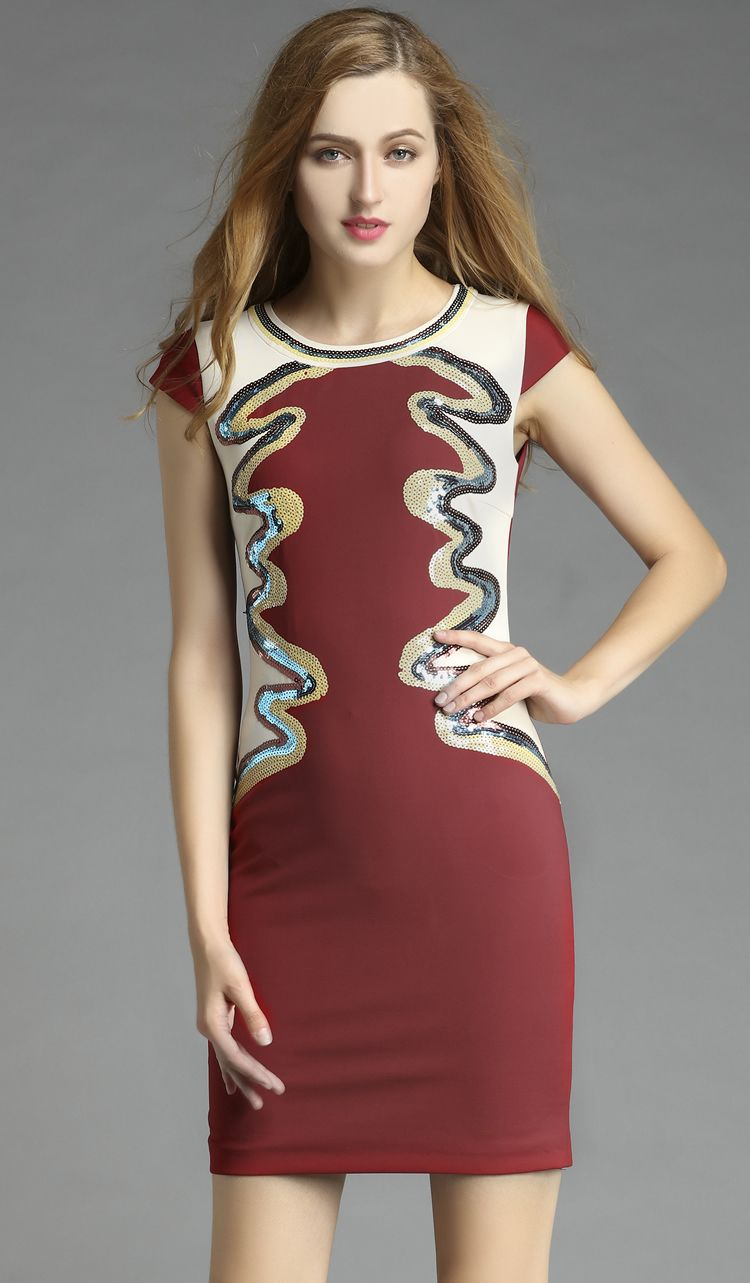 Click to buy ucuc sequins color block women sheath dress short sleeve