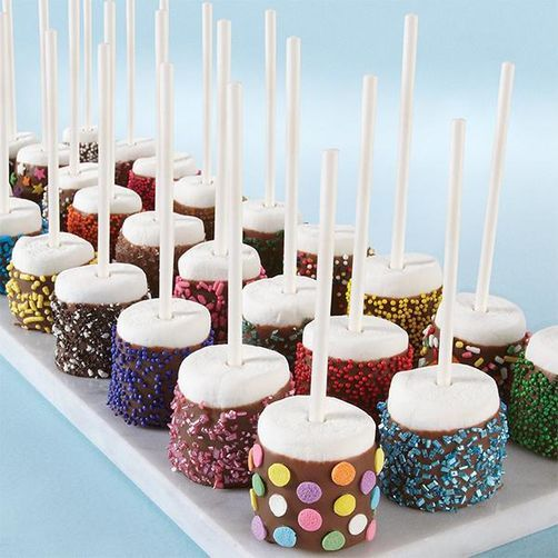 Dazzling Sprinkled Marshmallow Pops #marshmallows