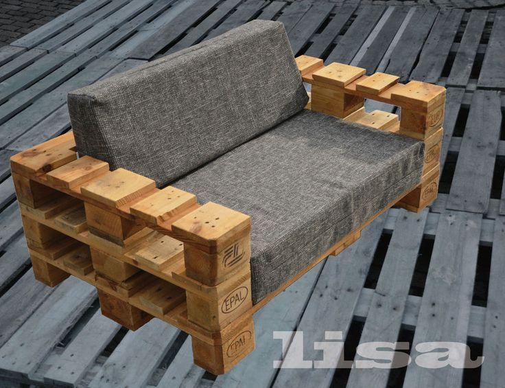 Lounge Gartenmöbel 2-Sitzer Palettenmöbel, Terrasse vintage Design - gartenmobel design lounge
