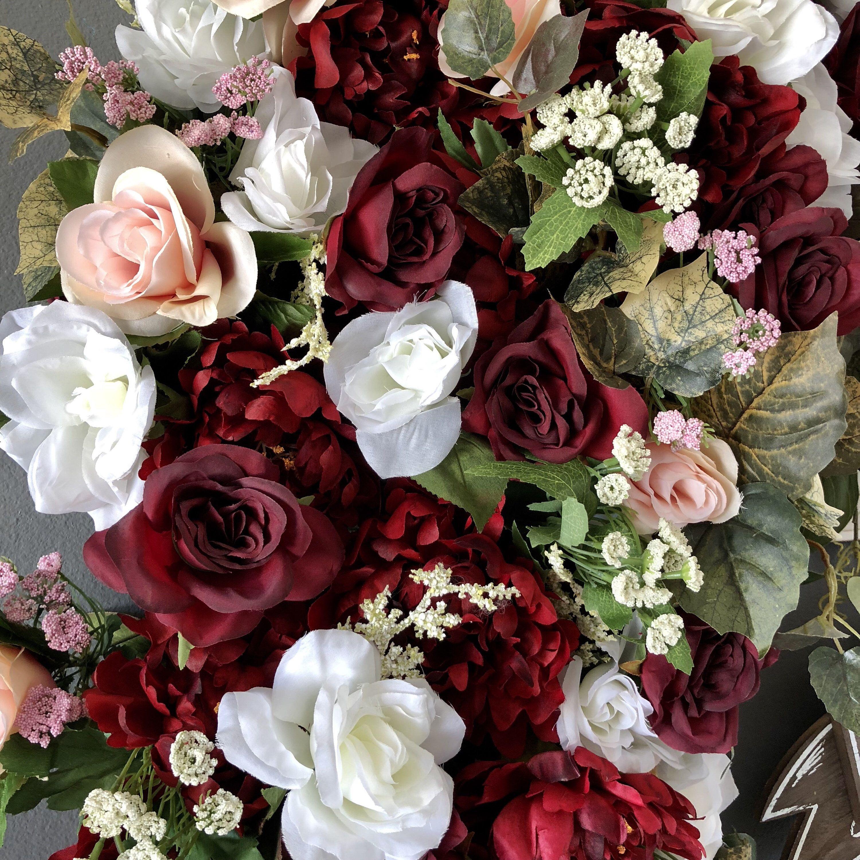 Burgundy Blush Wedding Ceremony Arch, Wedding Arch Flowers