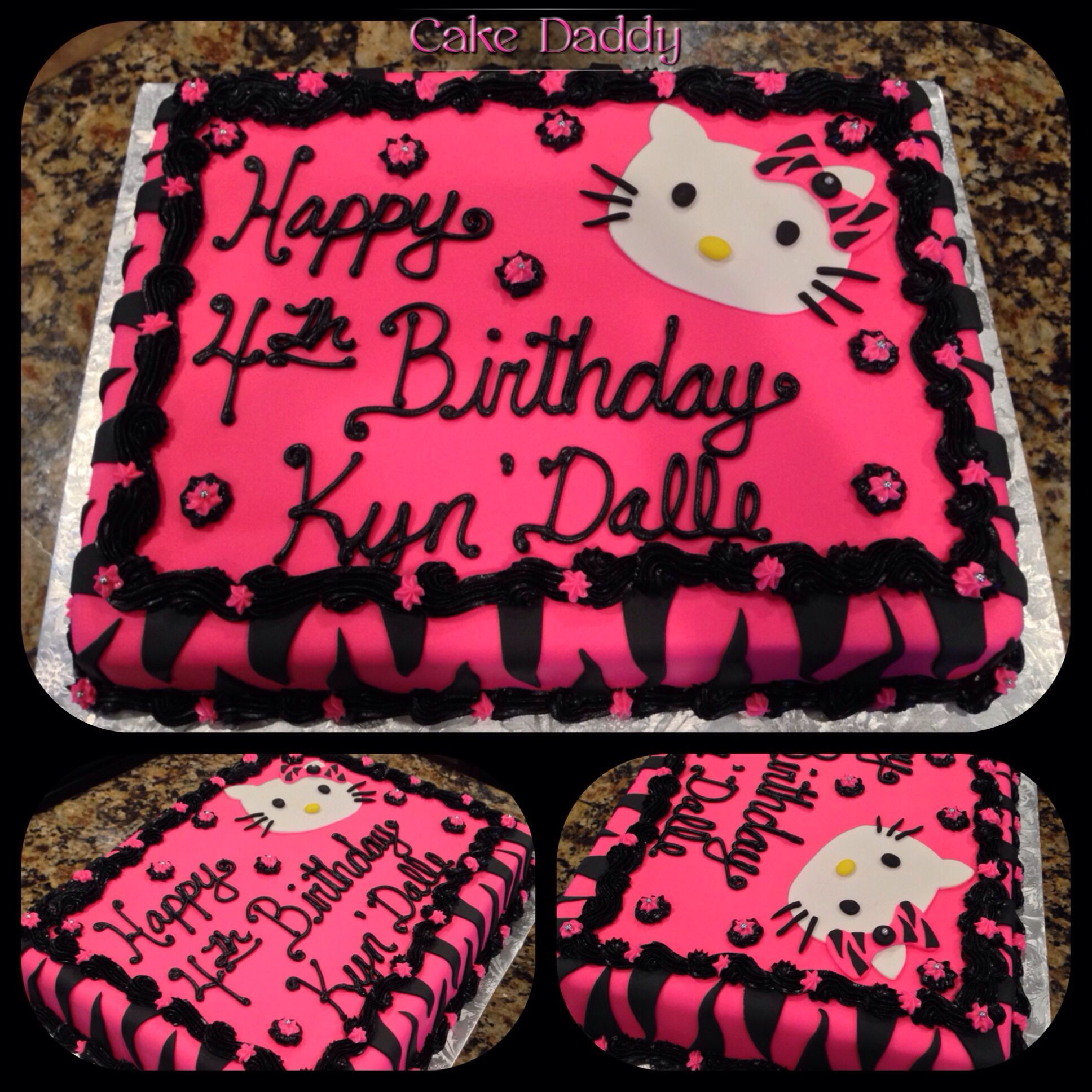 Hello Kitty Zebra Print Sheet Cake