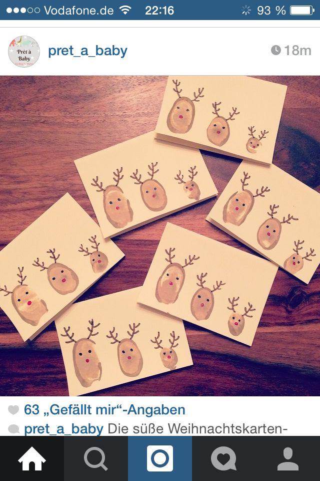 Weihnachtskarte mit babymanns Fingerabdrücke!