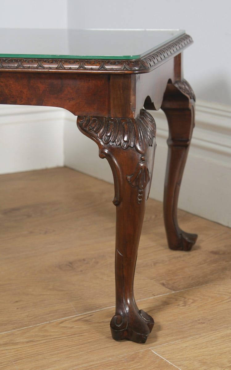 Antique Queen Anne Style Carved Burr Walnut Glass Rectangular