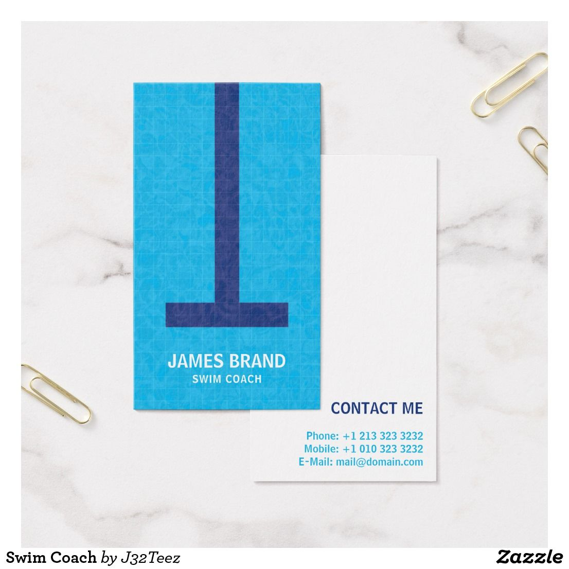 Swim Coach Business Card   Business cards, Business and Card templates