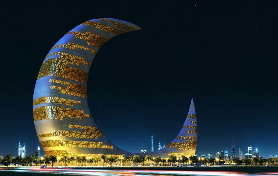 luna rascacielos creciente luna creciente de la torre los emiratos rabes unidos