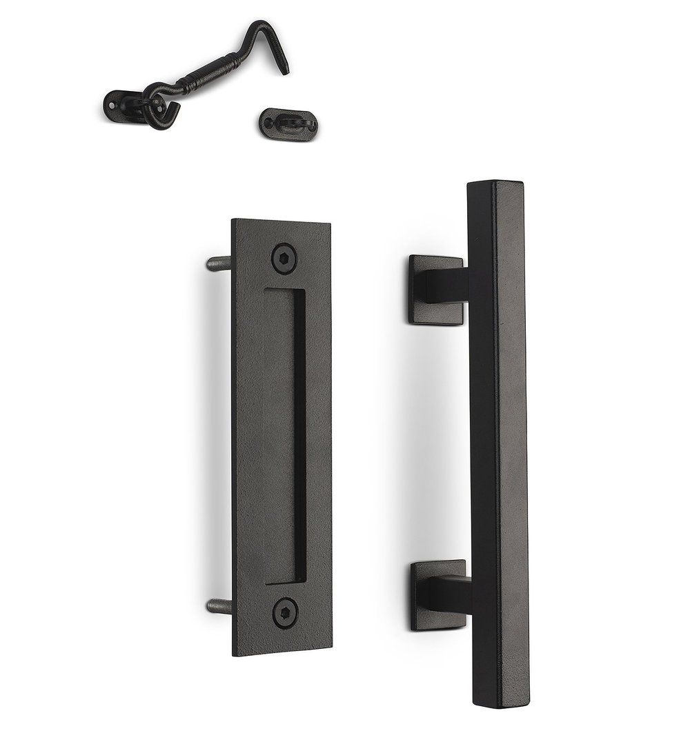 12 Square Barn Door Pull With Flush Plate Latch Matte Black