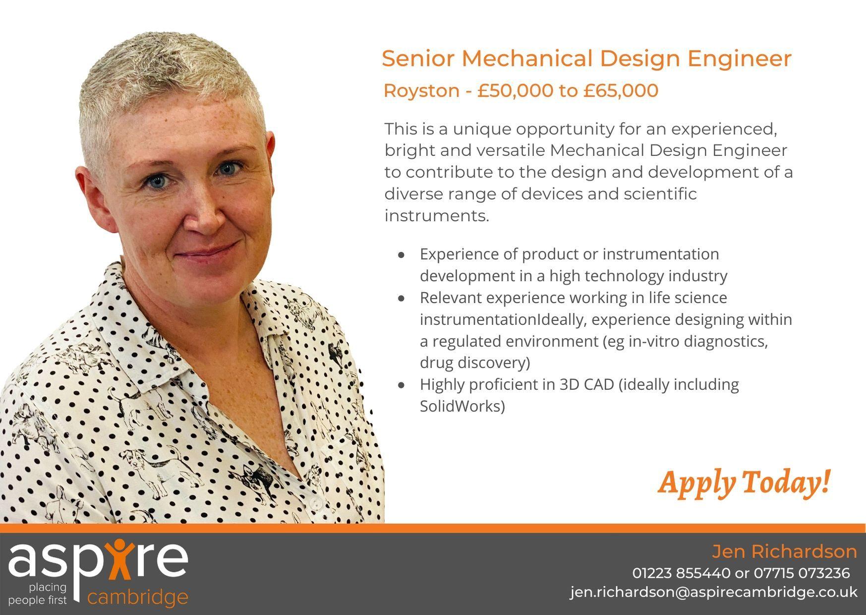 Senior Mechanical Design Engineer, Royston £50,000 to £