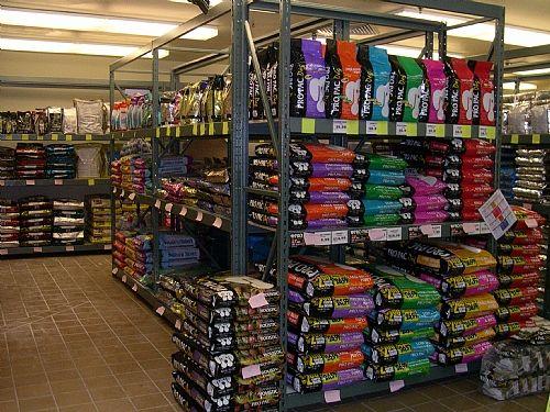 Wide Span Shelving for bulk dog food. Pet store, Bulk