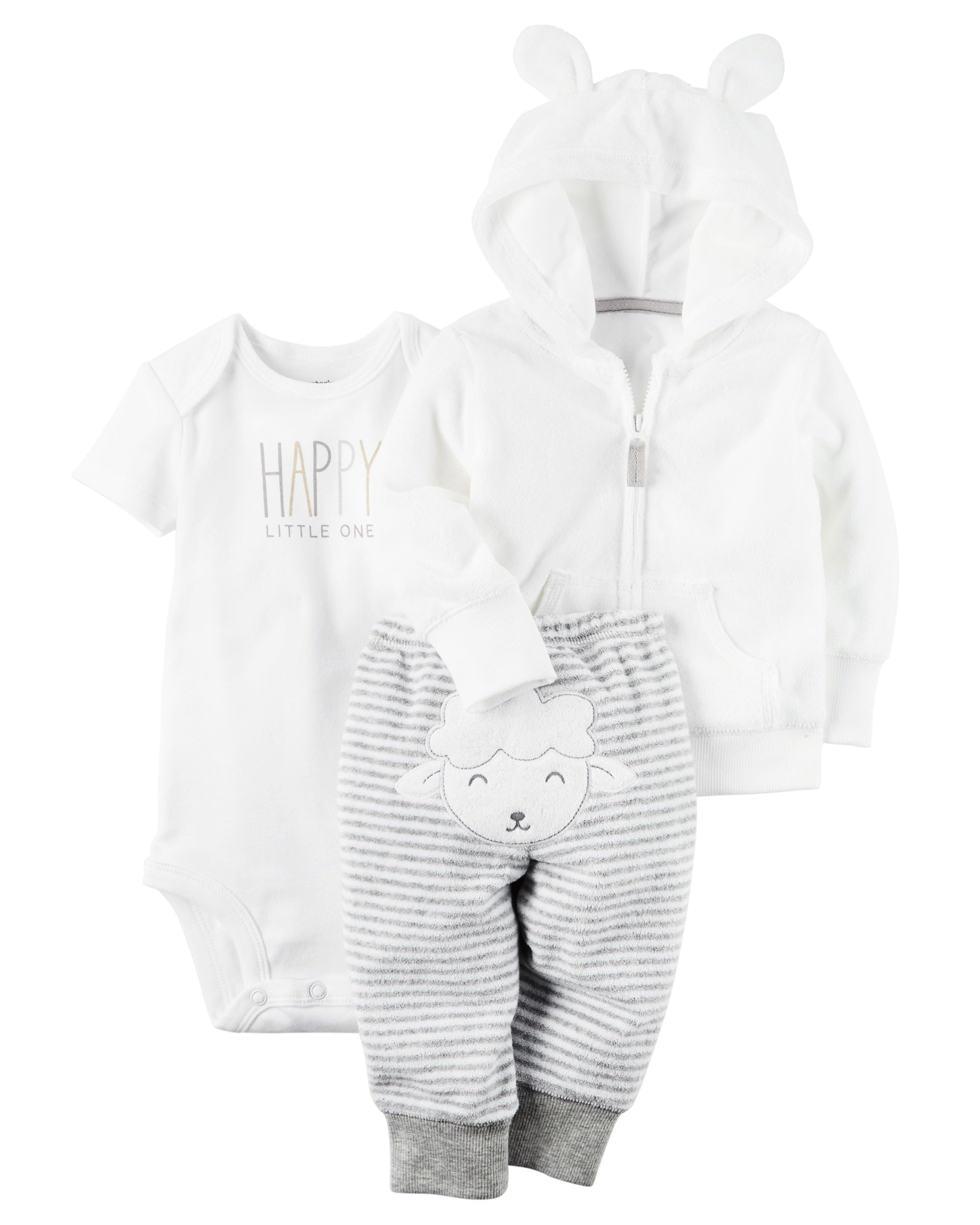 Carter/'s 3 Piece Baby Outfit Pants //Bodysuit //Sweater
