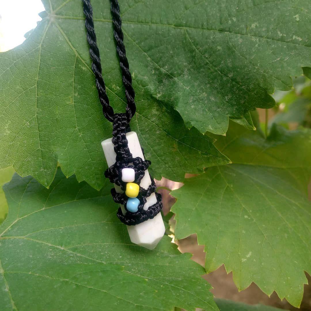 White marble macrame pendant #pendants #macrame #macramenecklace #white #blackandwhite #blackjewelry