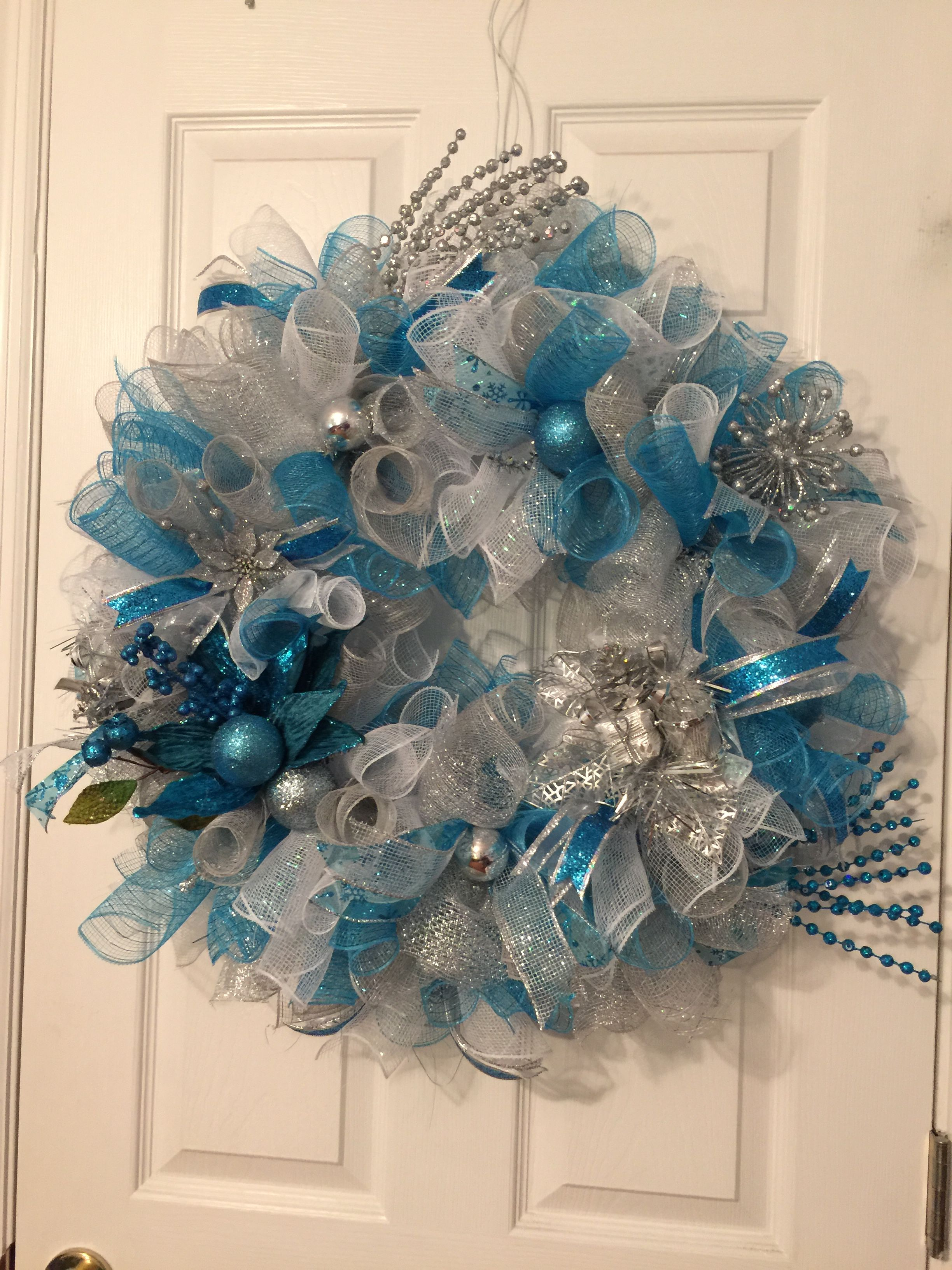 It S A Blue And Silver Christmas Deco Mesh Wreath Deco Mesh Christmas Wreaths Christmas Mesh Wreaths Silver Christmas