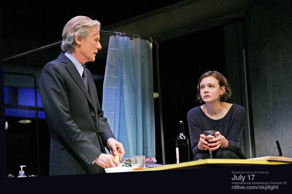 Production Shot - #NTLive's #Skylight - Bill Nighy (Tom Sergeant) and Carey Mulligan (Kyra Hollis). Coming to Riverside's screen 25 October - 2 November. #RiversideScreen