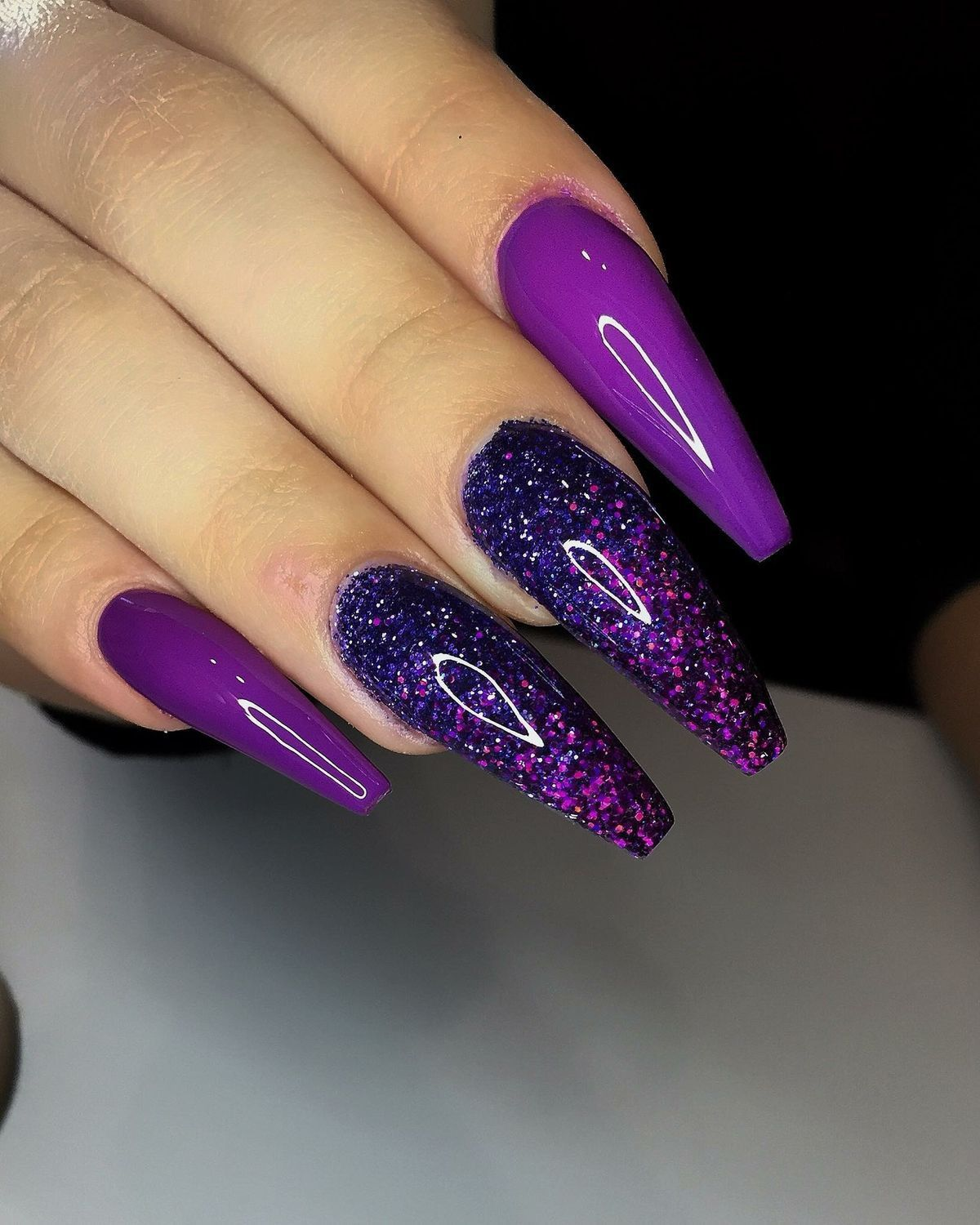 Pin By Jeanine Joyner On Nails Purple Nail Designs Coffin Nails Designs Pretty Nails