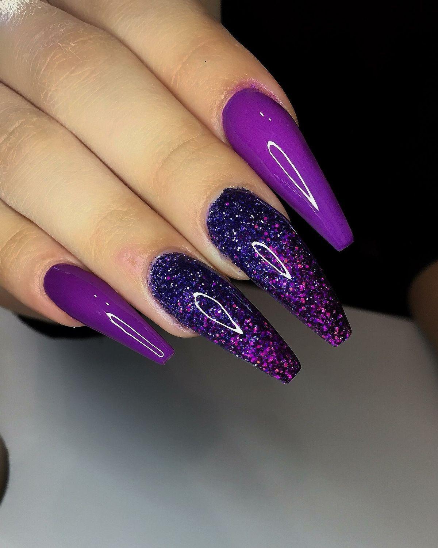 Deep Purple Glitter Coffin Nails Coffin Nails Designs Purple Nail Designs Pretty Nail Art