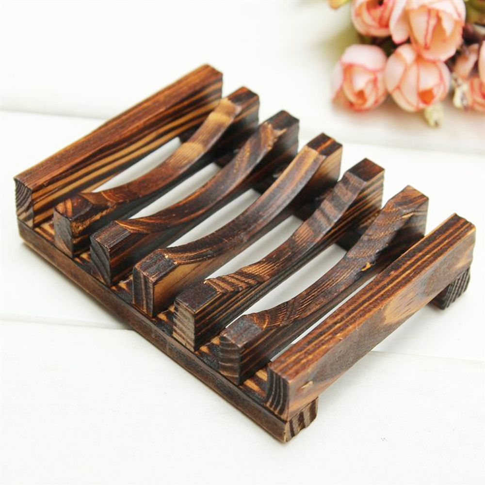 Wooden Bathroom Anti-Skid Soap Dish Sink Drain Holder Sundries Rack Handmade