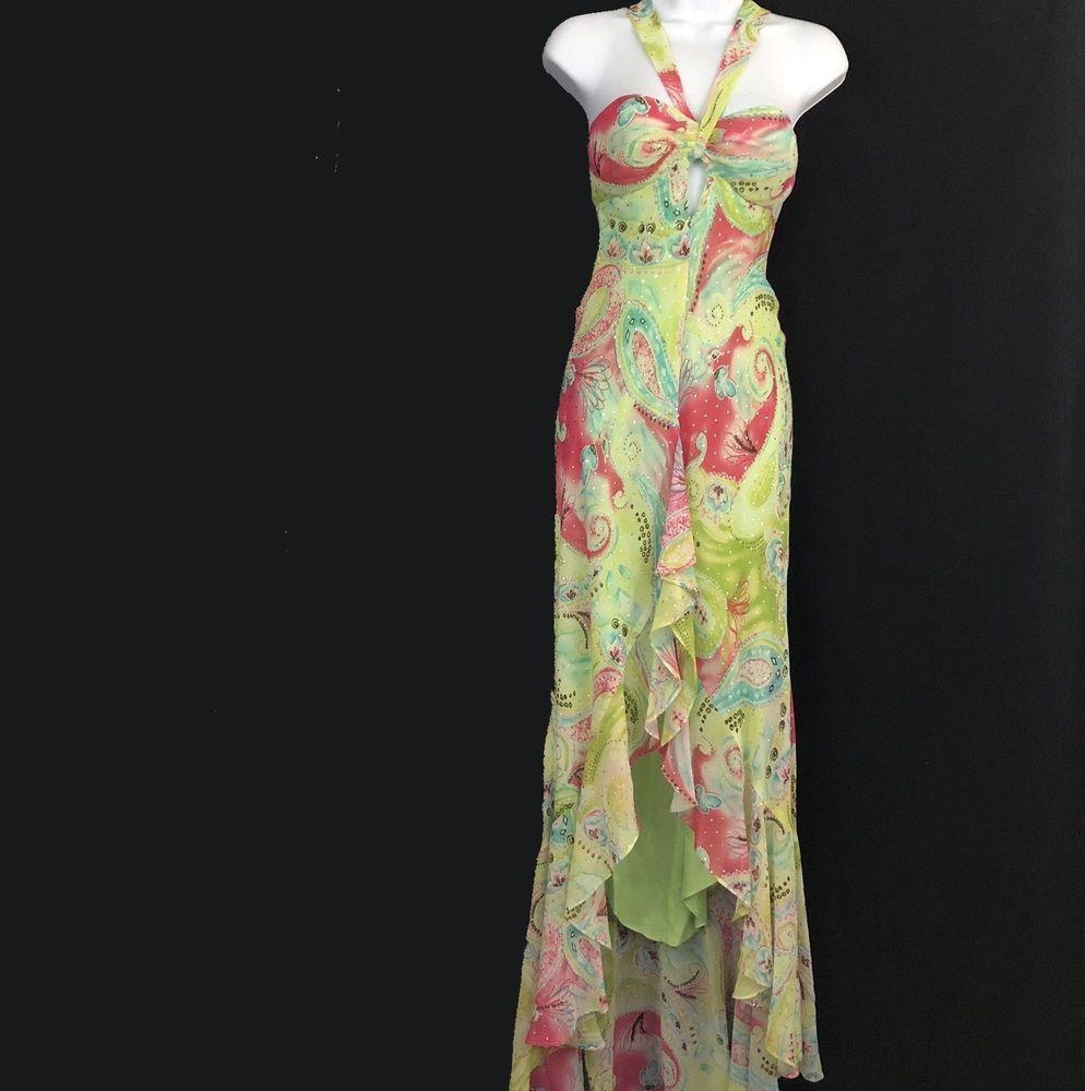 f1d33901 Zum Zum By Niki Livas 3-4 Gown Dress Muti Color Ruffle Sequin Strappy Miami  #ZumZumByNikiLivas #FitFlareDressMaxiDress #PartyCocktail