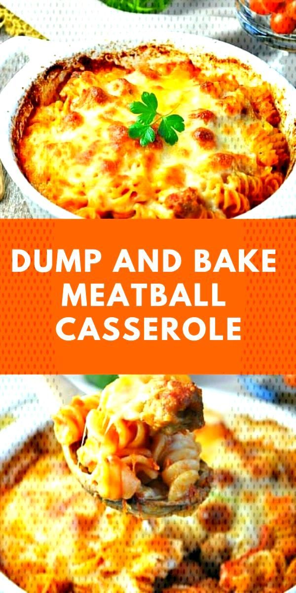 Dump and Bake Meatball Casserole | You don't even have to boil the pasta for this easy Dump and Bak