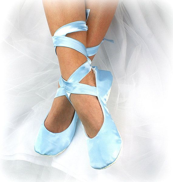 cb45c6cca1f Wedding Ballet Slippers Light Blue Something Blue Ballet Flats Shoes Satin  Bridal Shoes with Ribbon Ties