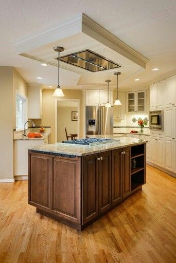 Kitchen With Stove In Island: Ceiling Mount Hood With False Ceiling