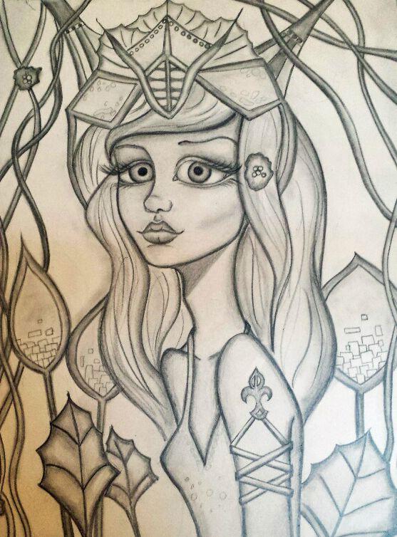 alien princess drawing