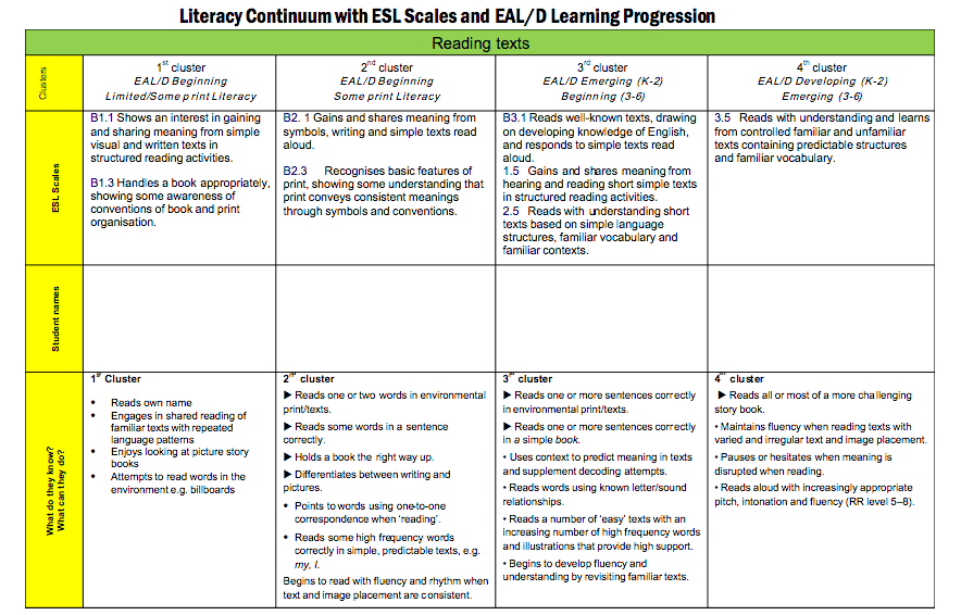 continuum of literacy instruction