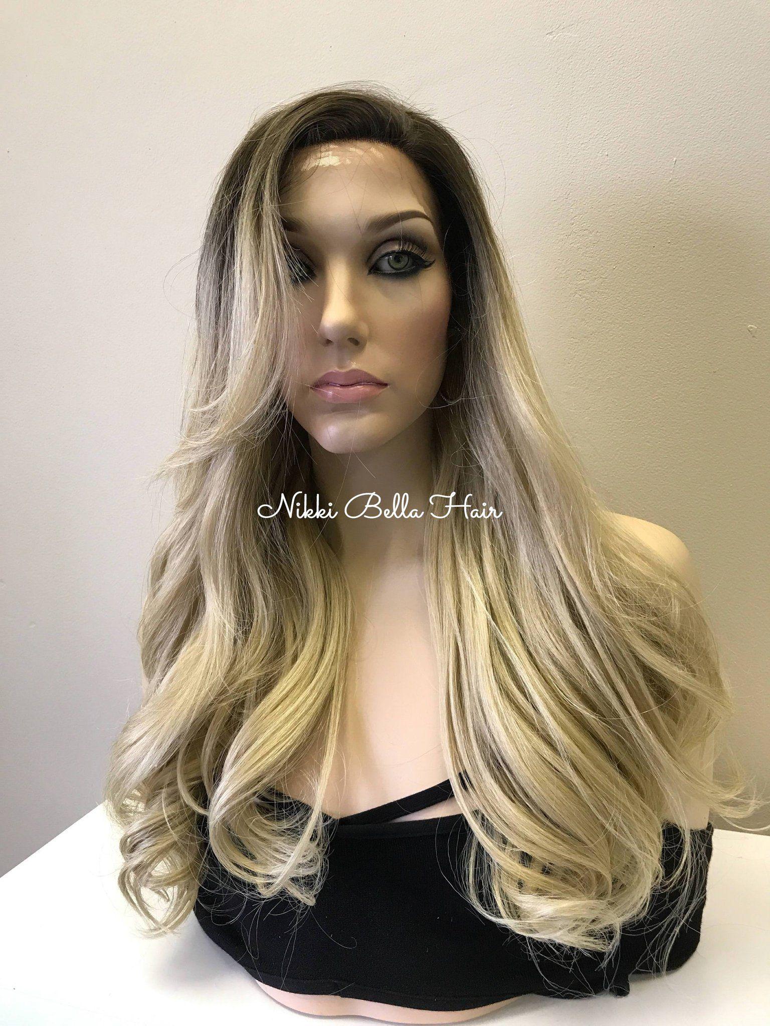 Light Ash Blonde Balayage Human Hair Blend Deep Part Lace Front