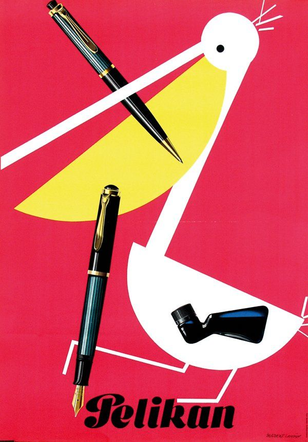 Herbert Leupin, poster illustration for Pelikan, 1952, pr. Paul Bender, Zürich