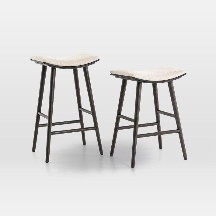 Oak Wood Upholstered Saddle Bar Counter Stools Upholstered Stool Counter Stools Stool