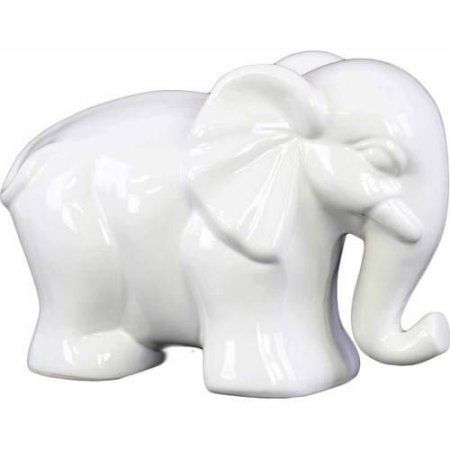 Urban Trends Collection: Ceramic Elephant Figurine, Gloss Finish, Red, White