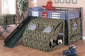 Boy's camouflauge loft bed