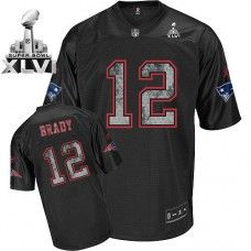 Sideline Black United Patriots  12 Tom Brady Black Super Bowl XLVI Stitched  NFL Jersey 870ea7868